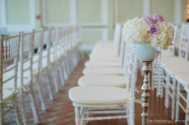 Aisle hydrangea flowers at Liberty House Restaurant Wedding Flowers