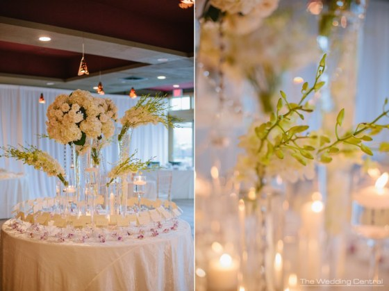 Seating card table with hydrangeas orchids crystals floating candles at Liberty Hosue Restaurant