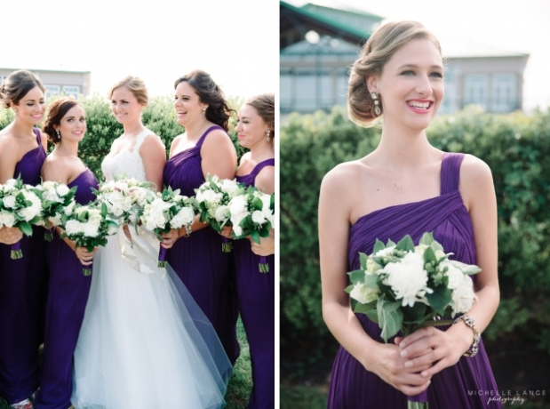 Purple bridesmaids dresses with white and green bouquets. wedding bouquets with football mums, green hypericum and white spray roses