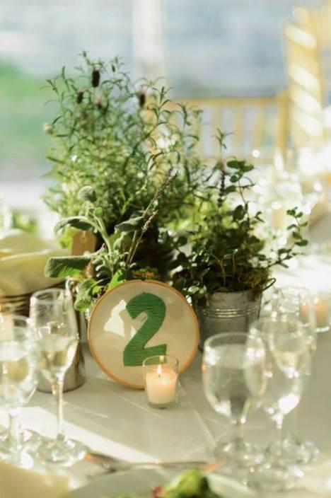 Herbs centerpieces at wedding Millrace Pond Inn hope NJ  by Limelight Floral Design hoboken jersey city wedding florist