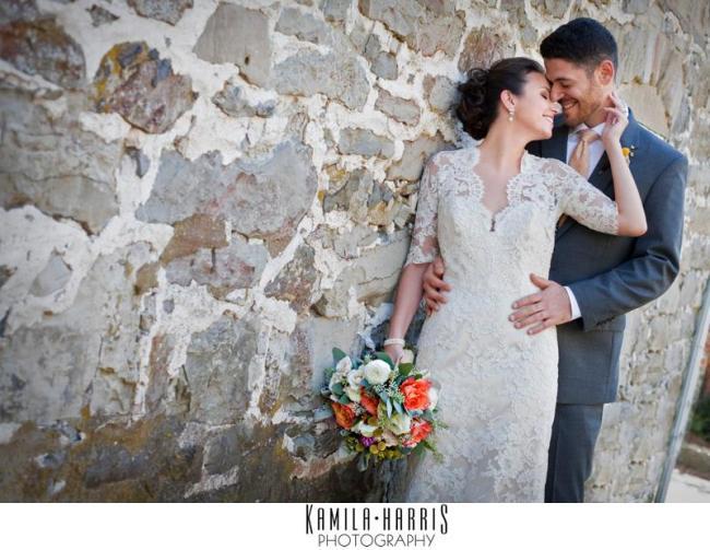 bridal bouquet white, gray and orange wedding flowers Hope NJ