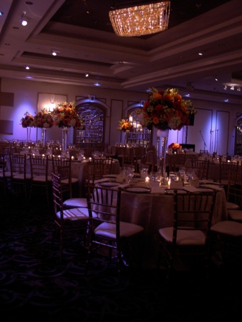 tall orange centerpieces at Temple Beth Ahm by Limleight Floral Design