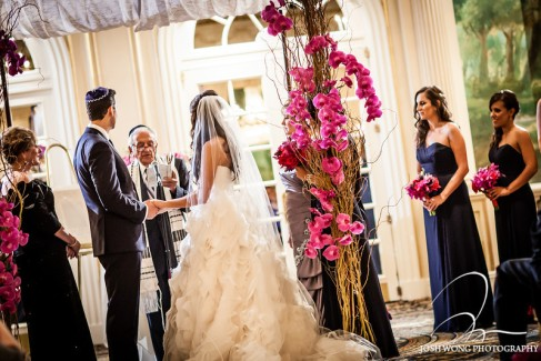 Central Park wedding chuppah with branches and orchids