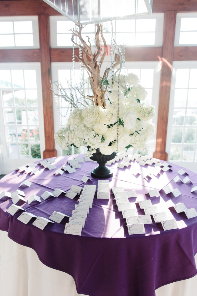 Seating card table with hydrangeas and manzanita branches at Liberty Hosue Restaurant