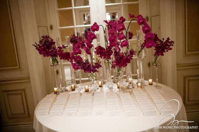 Limelight Floral Design Seating card table orchids
