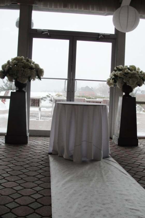 Wedding flowers Jersey City Hoboken NJ Maritime Parc Restaurant ceremony